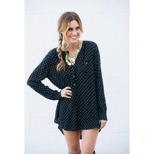 Free People Black Deep V Boyfriend Oversized Shirt